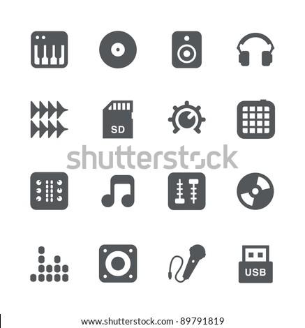DJ Equipment minimalistic icons set - stock vector