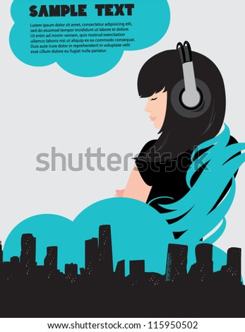 Dj girl and music poster - stock vector