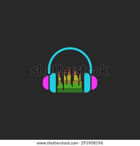 DJ headphones and equalizer sign, mockup sound wave element for party poster - stock vector