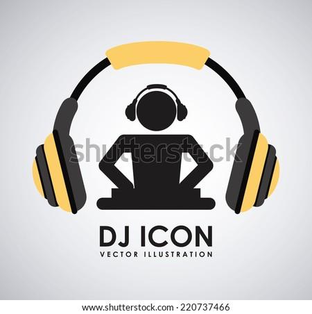dj icon graphic design , vector illustration - stock vector