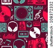 Dj icon set seamless pattern. Vector file layered for easy manipulation and custom coloring. - stock photo