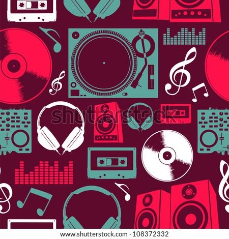 Dj icon set seamless pattern. Vector file layered for easy manipulation and custom coloring.