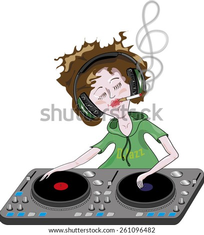 DJ is playing a music and mixing songs. He is smoking and relaxing. - stock vector