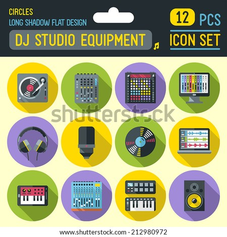 Dj music studio equipment flat long shadow circle icon set. Vector trendy illustrations.  - stock vector