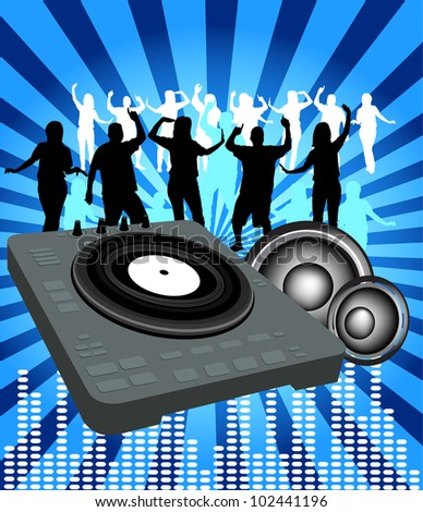DJ Party Time - stock vector