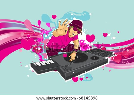 DJ performance on valentine party - stock vector