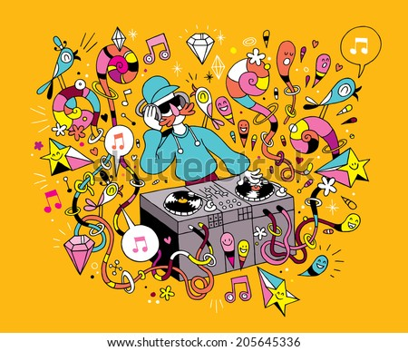 DJ playing mixing music on vinyl turntable cartoon illustration - stock vector