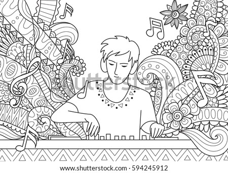 Dj Playing Music Coloring Book Stock Vector Stock Vector (Royalty ...