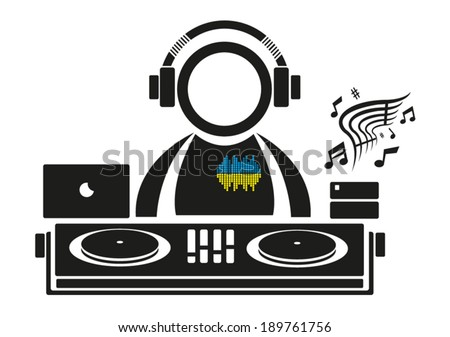 DJ playing music icon. Vector Illustration  - stock vector