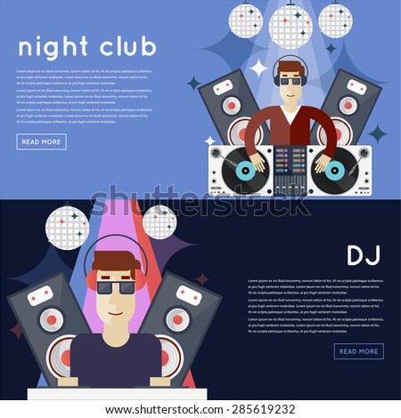 DJ plays music at club banners with place for text. Flat design vector illustration.