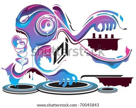 DJ robot and graphic background - stock vector