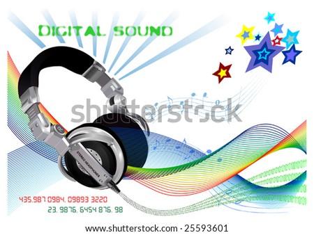 Dj's headphones and digital sound - stock vector