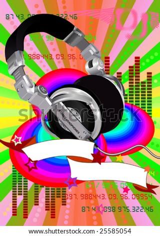 Dj's headphones on a grunge colour background - stock vector