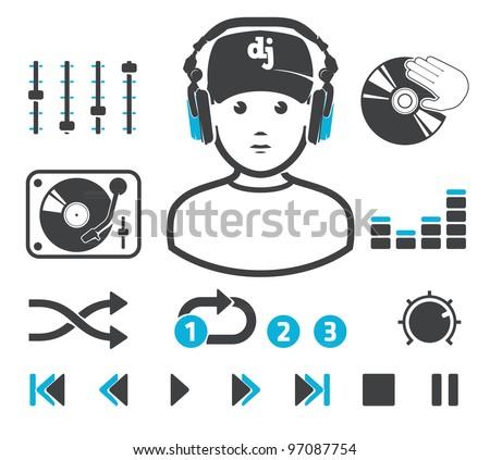 DJ`s set - stock vector