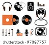 DJ`s set, equipment - stock vector