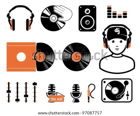 DJ`s set, equipment - stock vector