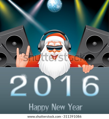 DJ Santa in the New Year party - stock vector