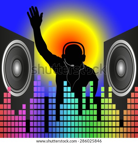 DJ silhouette and speakers - stock vector