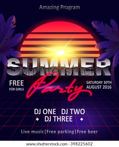 DJ summer party, night club show poster - stock vector