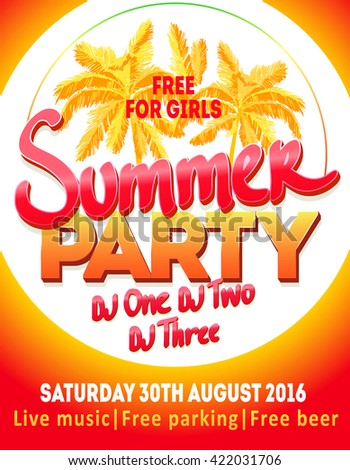 DJ summer party, night club show poster. Summer Holiday and Summer Party poster template.