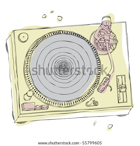 dj turntable - stock vector