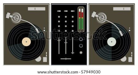 dj turntables and mixer on white background vector - stock vector