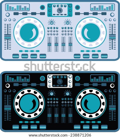 DJ Turntables Vector - stock vector