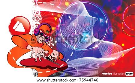 DJ. Vector illustration. - stock vector