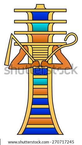 Djed Pillar Crook Flail Colored Hieroglyph Stock Vector Royalty