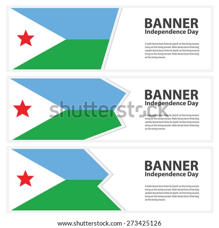 djibouti Flag banners collection independence day - stock vector