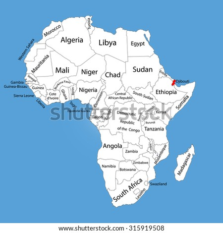 Djibouti Vector Map Silhouette Isolated On Stock Vector 315919508 ...
