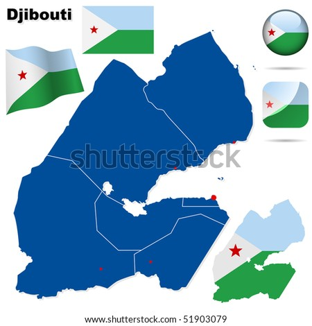 Djibouti vector set. Detailed country shape with region borders, flags and icons isolated on white background. - stock vector