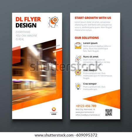 Dl Flyer Design Layout Orange Dl Stock Vector 609095372 Shutterstock