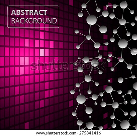 DNA background. molecular structure of planar elements. vector. pink Light Abstract Technology background for computer graphic website internet business. text box.Tables,mosaic.pixel.card - stock vector