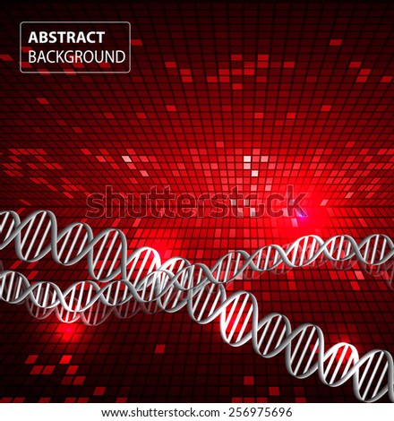 DNA background. molecular structure of planar elements. vector. red Light Abstract Technology background for computer graphic website internet and business. text box. Tables, mosaic - stock vector