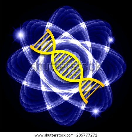 DNA. Dark blue Shining atom scheme. Vector illustration. dark background. digital. infographics. Abstract Technology background for computer graphic website internet and business. circuit. - stock vector