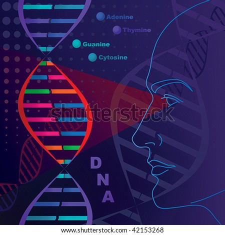 DNA genetic researches, test. - stock vector