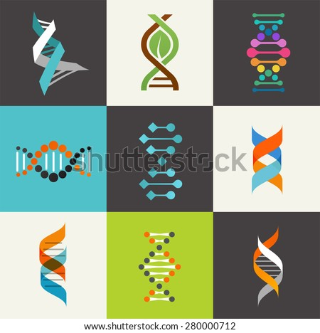 DNA, genetic sign, elements and icons collection - stock vector