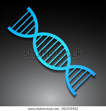 DNA, human genome code symbol isolated on black background. blue DNA Helix Molecular Background. gen. DNA symbol. Vector illustration. icon