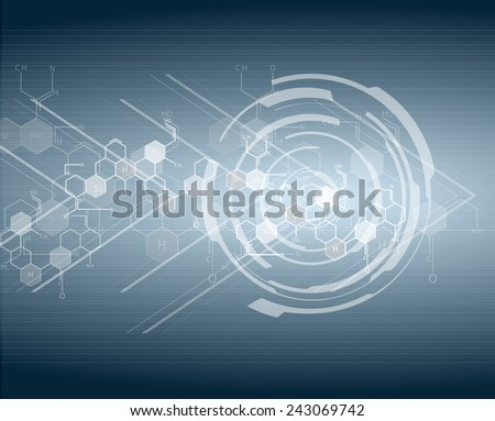 DNA molecule structure bright hi-tech circuit board background. Vector  - stock vector