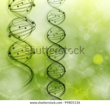 DNA molecules on the natural background. Eps 10 - stock vector