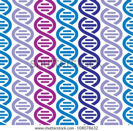 Dna seamless pattern, science vector background.