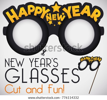 Do yourself cut funny new years stock vector 776114332 shutterstock do it yourself cut it for a funny new years glasses with greeting message and solutioingenieria Images