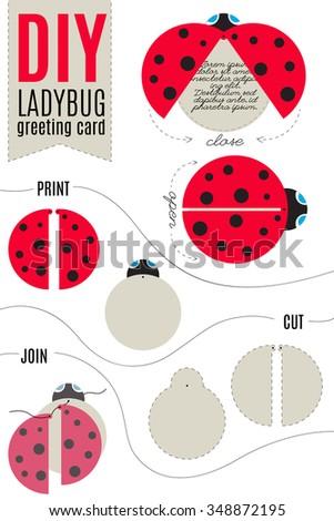 Do Yourself Ladybug Greeting Cad Print Stock Vector 348872195