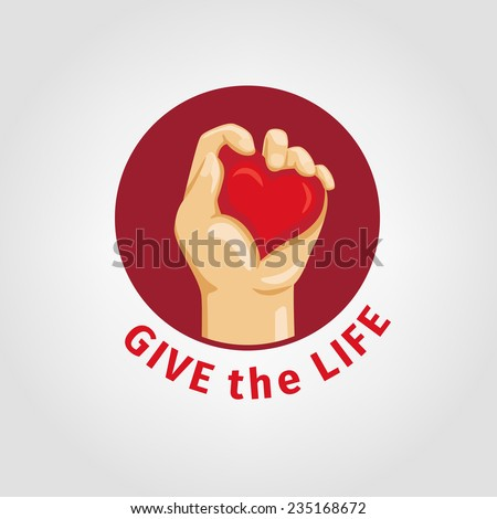 Do not be indifferent, give blood and life concept. Element heart squeezed in the hand, in red circle on white background and space for text - stock vector