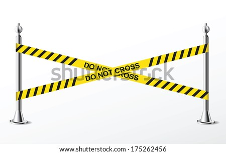 Do not cross yellow police tape. Vector illustration - stock vector