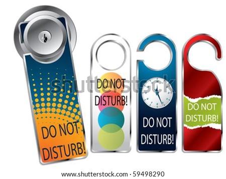 Do not disturb label set - stock vector