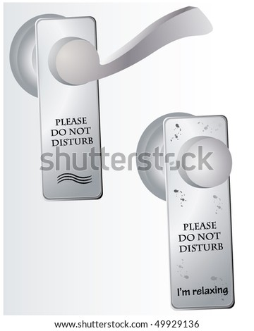 Do Not Disturb sign on door - stock vector