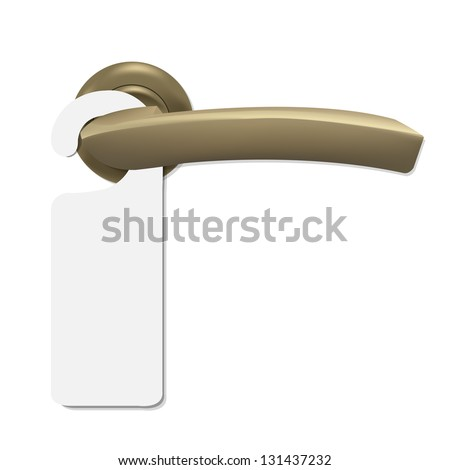 Do Not Disturb Sign With Door Handle, Isolated On White Background, Vector Illustration - stock vector