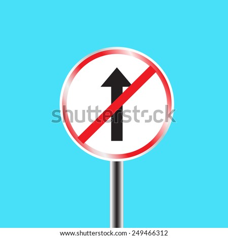 Do not go straight sign in blue background - stock vector